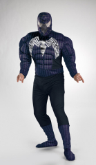 Black Suited Spider-Venom Man Muscle Chest Teen Costume