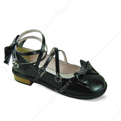Black Wrap and Bowknot Lolita Shoes