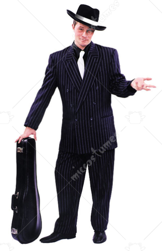 Black Zoot Suit With White Pin Stripe Adult Costume