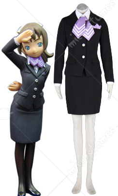 Black and Purple Airline Stewardess Uniform Cosplay Costume
