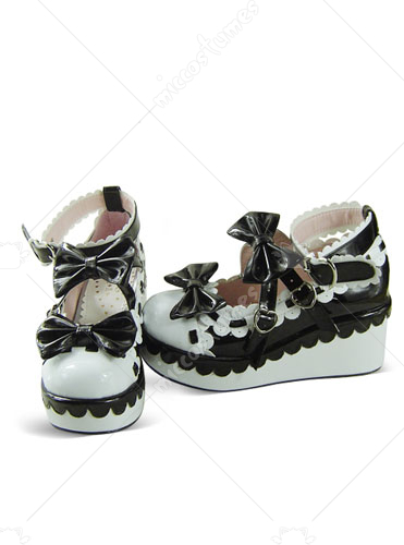 Black and White Round Toe Buckled Platform Leather Flats