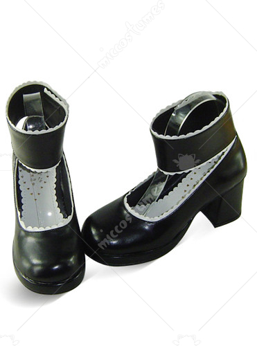 Black and White Round Toe Thick Heel Platform Leather Boots