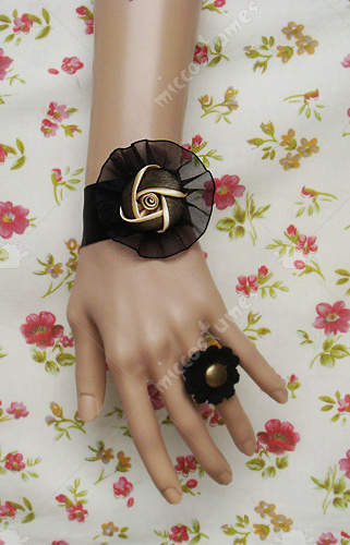 Black and ivory floral tulle lolita wrist band
