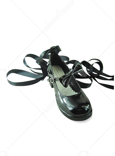 Black ankle wrap buckle thick heel patent leather pump