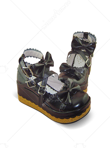 Black buckle wedge leather platform