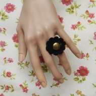 Black flower lolita ring