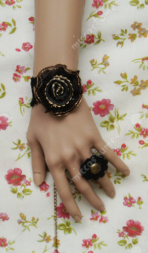 Black flower with gold hemline lolita wrist band
