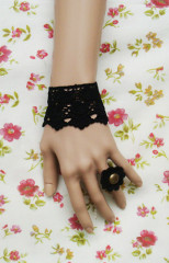 Black lace checks lolita wrist band