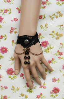 Black lace with beadings lolita wrist band