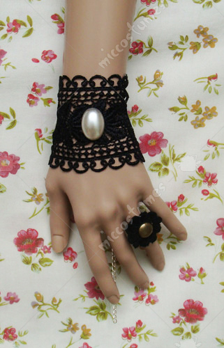 Black lace with white bead lolita wrist band