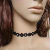 Black little flower with bead lolita necklace
