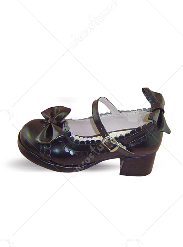 Black thick heel buckle bow leather pump