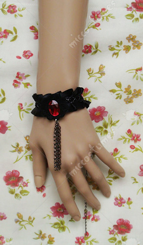 Black tulle with a red diamond lolita wrist band