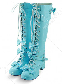 Blue Lace Up Bow Thick Heel Platform Leather Knee Boots