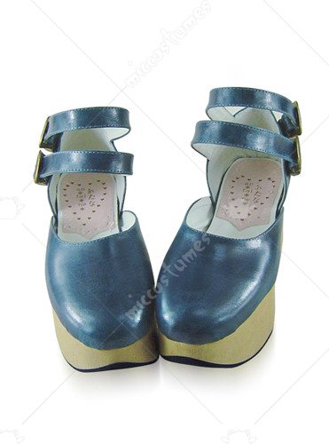 Blue buckle wedge leather platform