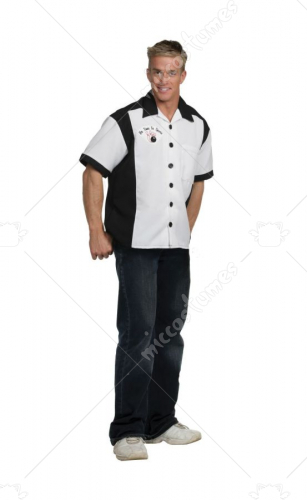 Bowling Shirt Black White Adult Costume