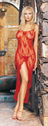 Butterfly Lace Long Dress With Split Front And G-String