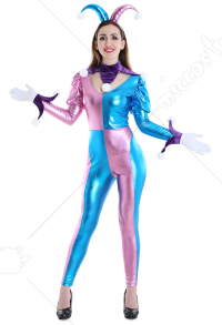 Female Pastel Clown Jester Halloween Costume Jumpsuit Suit Outfit With Hat Pink Green