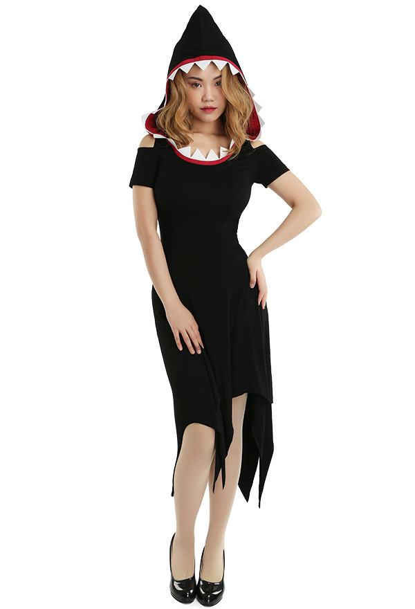 Schwarz Damen Hai Kapuze Kostüm Hexe Kleid für Halloween