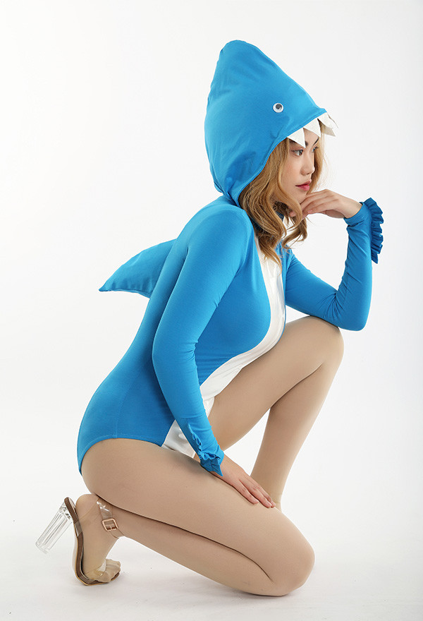 Blau Damen Hai Kapuze Halloween Kostüm Body