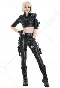 Womens Pu Leather Police Officer Uniform Costume Halloween Cop Outfit With Holster