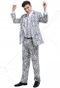 Money Dollar Suit Adult Men US Dollar Cash Printing Fancy Dress Party Jacket Costume Blazer Outfits