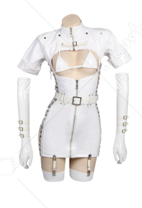 Dark Nurse White Costume Dress Skin Tight Faux Leather Zip Up Sexy Bondage Suit with Nurses Cap for Halloween