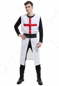 Men Templar Tabard Medieval Crusader General Vest Outfit Cosplay Costume with Wide and Narrow Belt