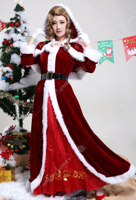 Women Mrs Claus Adult Red Gown Robe Bronzing Nylon Performance Outfit Cosplay Costume for Christmas with Hooded Cloak and Belt