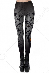 Halloween Costume Black Gradient Pumpkin Printing Leggings
