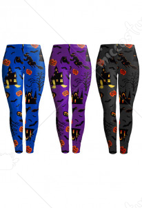 Halloween Costume Digital Pumpkin and Bat Printing Elastic Leggings