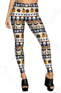 Halloween Costume Digital Pumpkin Printing Closed-fitting Leggings