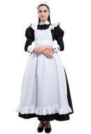 Classic Maid Uniform Long Dress Cosplay Costume with Katyusha