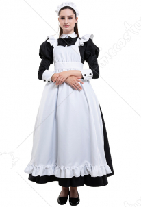 Classic Maid Uniform Long Dress Cosplay Costume with Katyusha