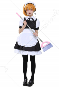 French Maid Uniform Cosplay Costume Short Dress with Half Apron