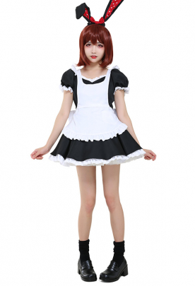 French Maid Uniform Cosplay Costume Short Dress with Apron