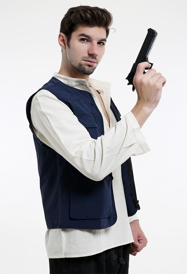 Männer V-Ausschnitt Langarm Leinen Mittelalter Hemd für Halloween Cosplay