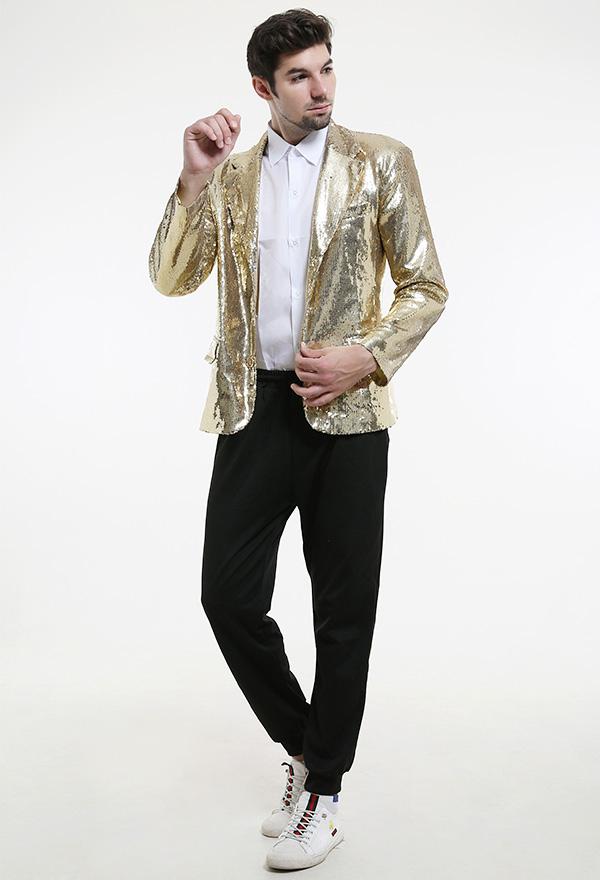 Glänzende Pailletten Anzug Jacke Blazer Smoking mit Krawatte für Party Prom Karneval Halloween