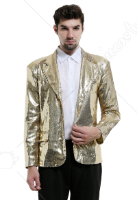 Shiny Sequins Suit Men's 70s Golden Disco Jacket Blazer Tuxedo for Party Prom Halloween