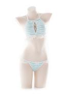 [Free US Economy Shipping] Girls Neck Halter Bikini Set Blue and White Two Piece Maiden Lingerie Set