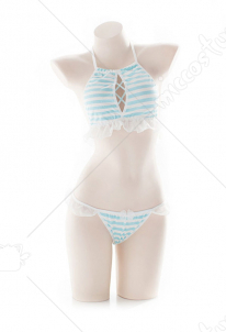[Free US Economy Shipping] Girls Neck Halter Bikini Set Blue and White Two Piece Maiden Lingerie Set