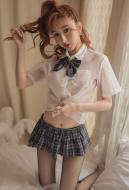 [Free US Economy Shipping] Cute Girl Shirt Japanese Style Sexy Plaid Mini Skirt