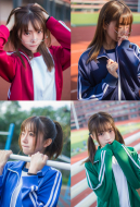 High School Sportswear Japanese Style Long Sleeve Gym Suit Cosplay Costume