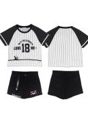 Kumamoto Bear Striped T shirt Loose Sports Denim Shorts