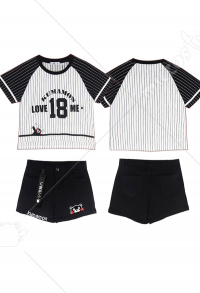 Kumamoto Bear T-shirt Rayé et Short Vêtement de Sport en Denim