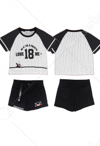 Kumamoto Bear Striped T shirt Loose Sports Denim Shorts