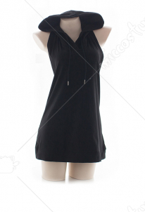 Back Open Dress with Hood Black Casual Hoodie Dress