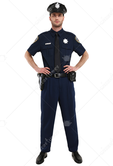 Adult Police Officer Short Sleeve Costume for Men with Hat