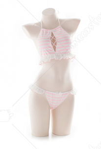 [Free US Economy Shipping] Girls Neck Halter Bikini Set Pink and White Two Piece Maiden Lingerie Set