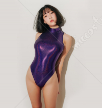 High Collar Japanese Sukumizu Colorful One Piece Swimwear Glossy Look Swimsuit